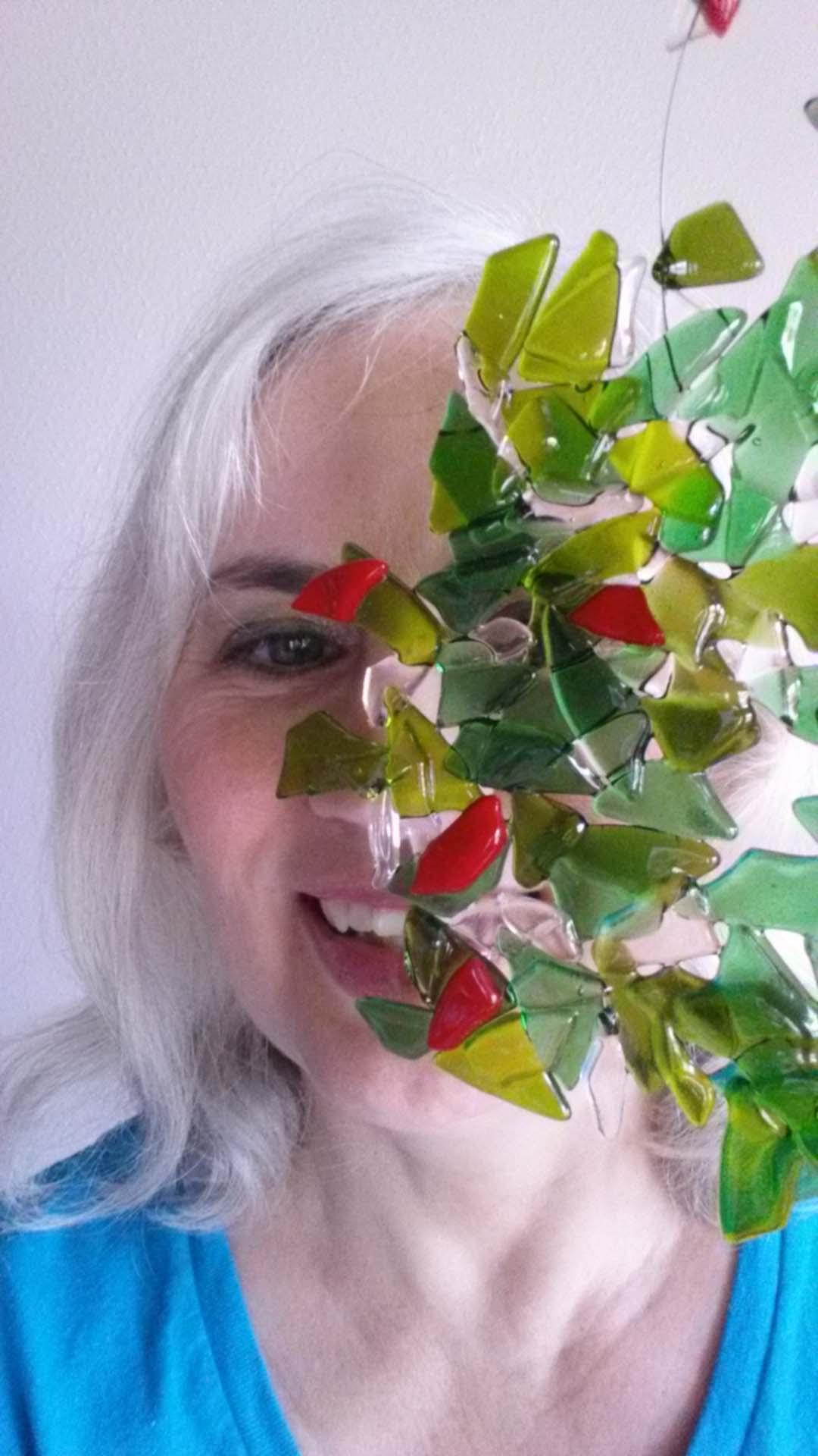 Selfie with a glass tree
