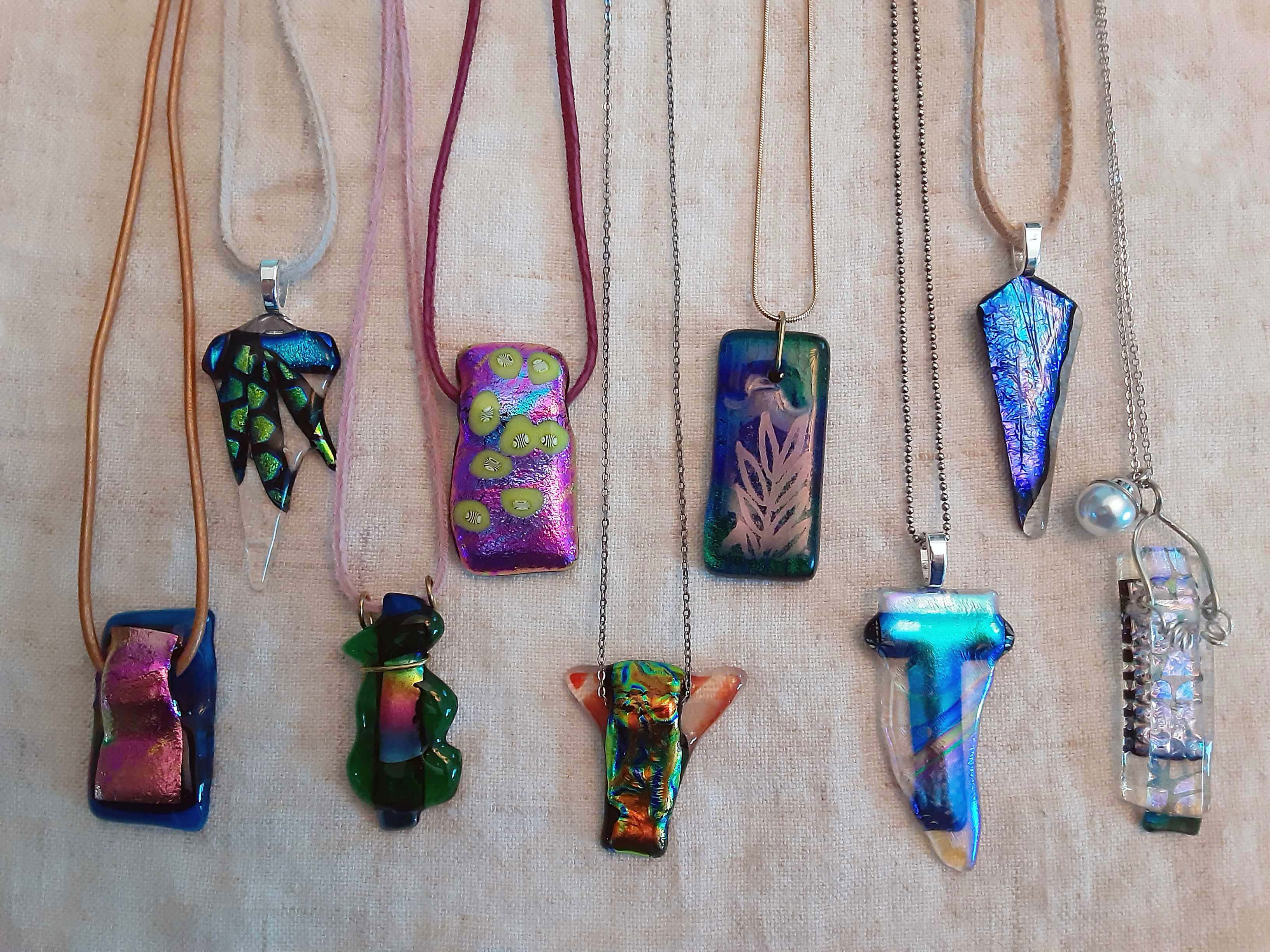 new glass art necklaces